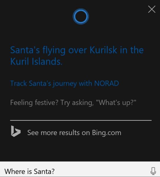 Cortana Santa Tracker