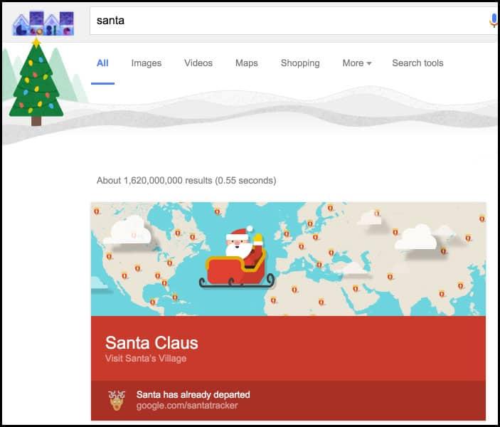 Google Search Santa Claus Tracker