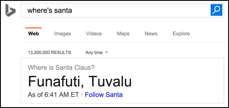 Search in Bing Where Santa Clause is