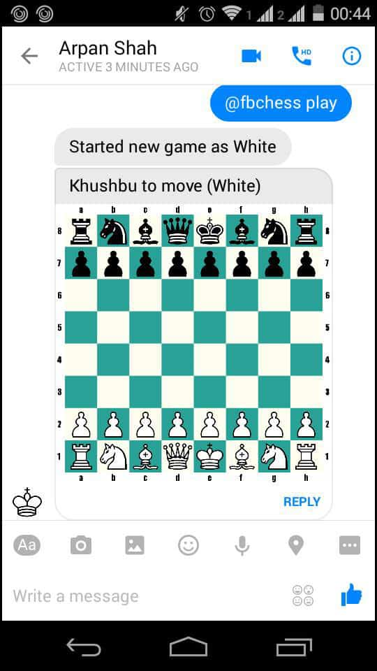 @fbchess play to play chess in Facebook Messenger