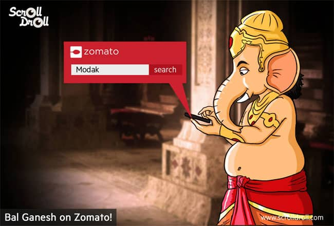 Bal Ganesh Searching for Modak in Zomato