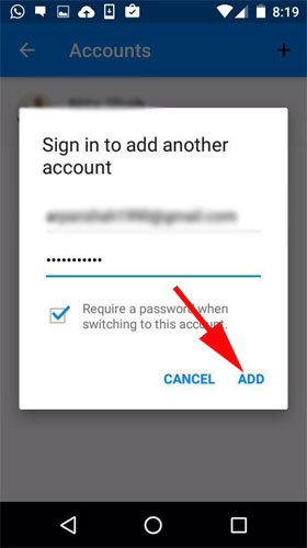 Enter your Username and Password and tap on Add button.