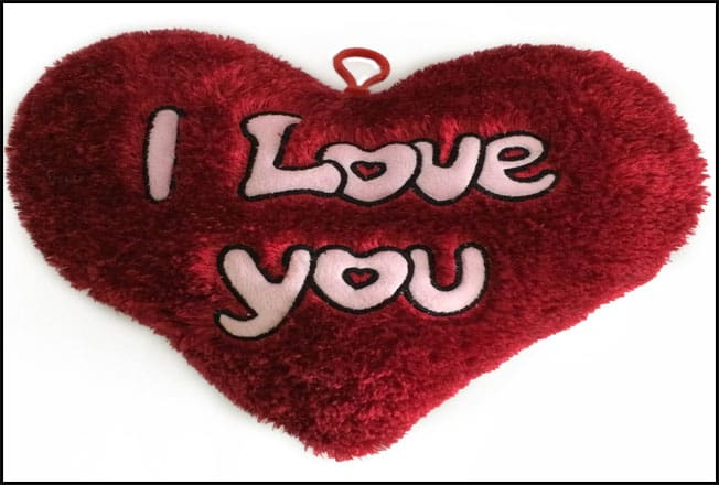 Happy Valentines Day, Pink I Love You Red Plush Heart Pillow