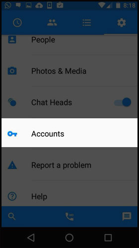 Now tap on Accounts option.