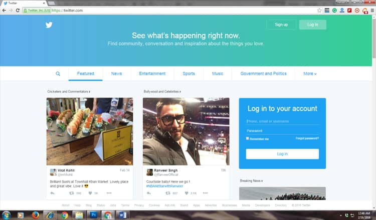 Open Twitter on your web browser