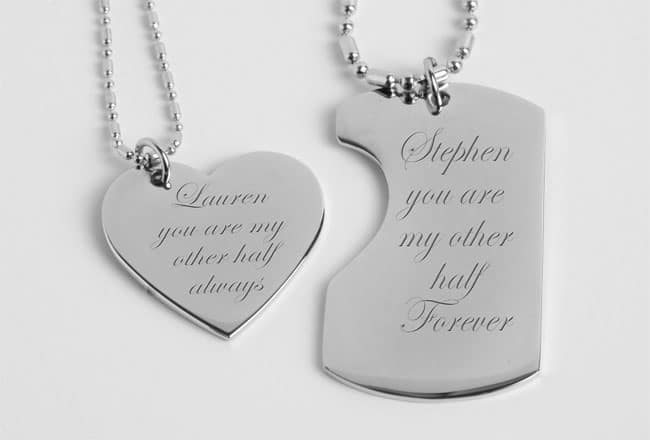 Personalized His & Hers Mini Dog Tag & Heart Necklace Set