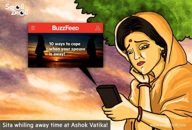Sita reading on Buzzfeed