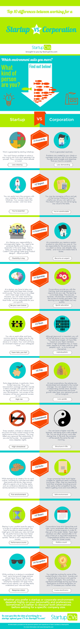 Startup VS Corporation Infographic