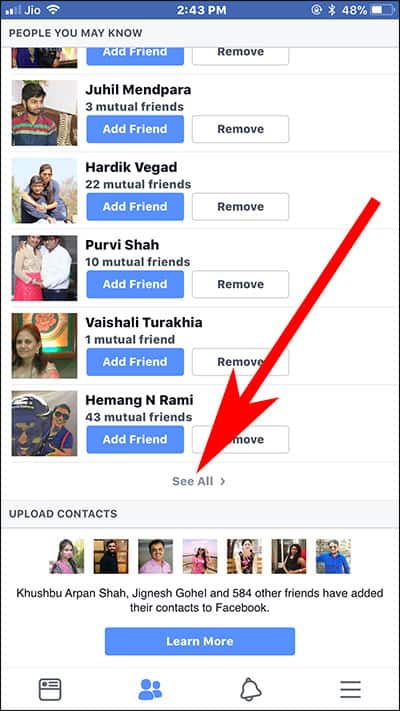 How to view all sent friend requests on facebook android