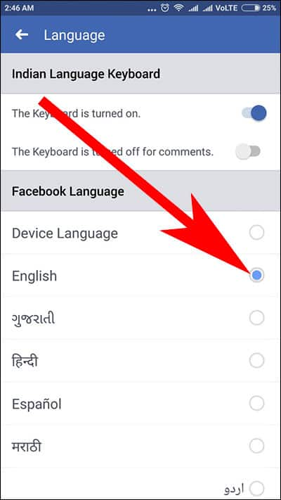 Change Facebook Language in Android Phone or tablet