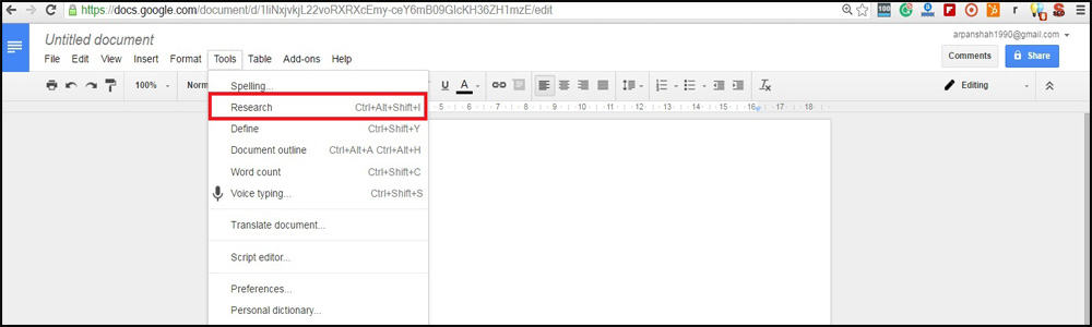 Click on Research Option from Tools Menu