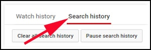 Click on Search History Option in Youtube