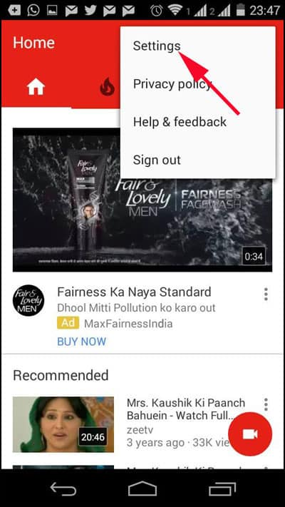 Click on Setting in Youtube on Android