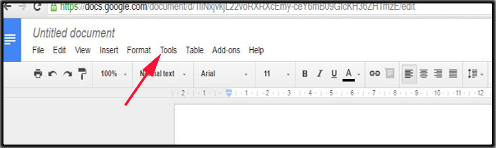 Click on Tools Menu in Google Docs