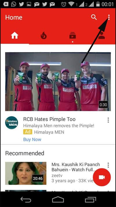 Click on three Vertical dots in Youtube on Android