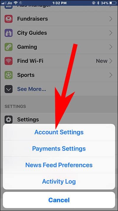 Tap on Account Settings in Facebook App on iPad or iPhone
