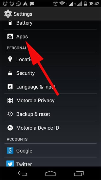 Tap on Apps from Settings