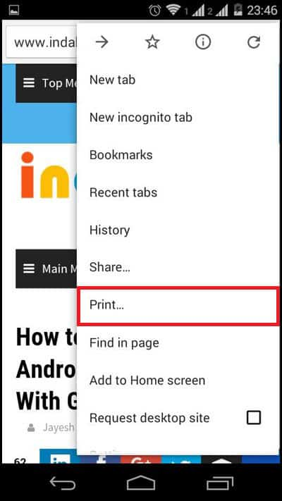 Tap on Print from the options