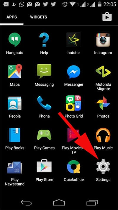 Tap on Setting in Your Android Device
