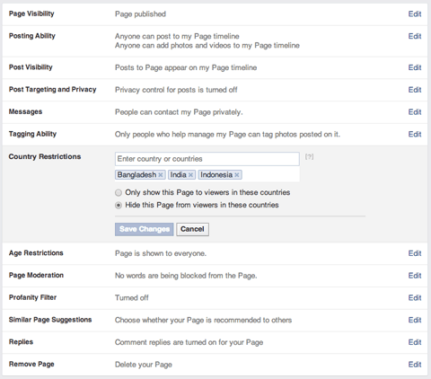 Change Setting in Facebook