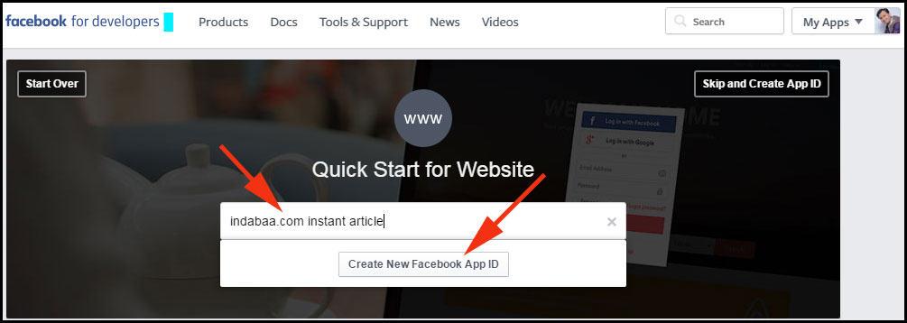 Choose website and start creating facebook app