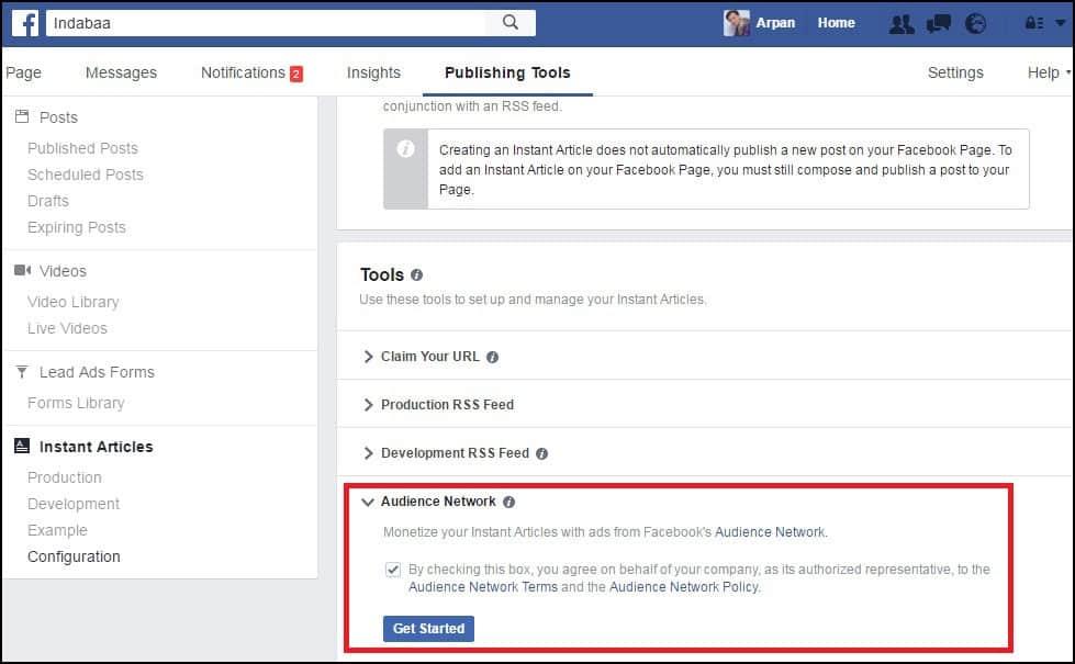 Facebook Instant Article Advertisment Setup