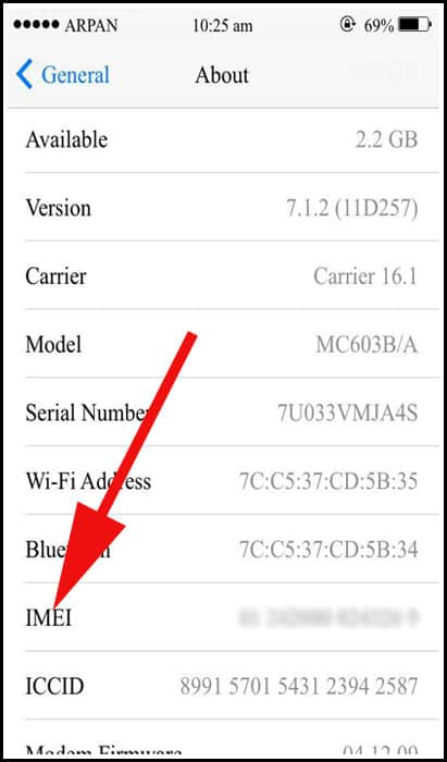 IMEI Number on iPhone
