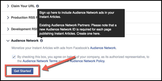 Start Facebook Audience Network