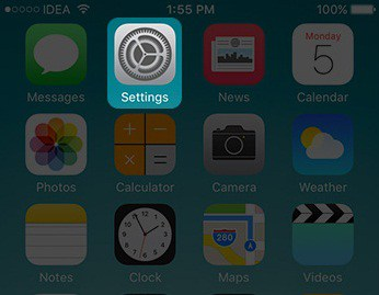 Tap on Setting in iPhone