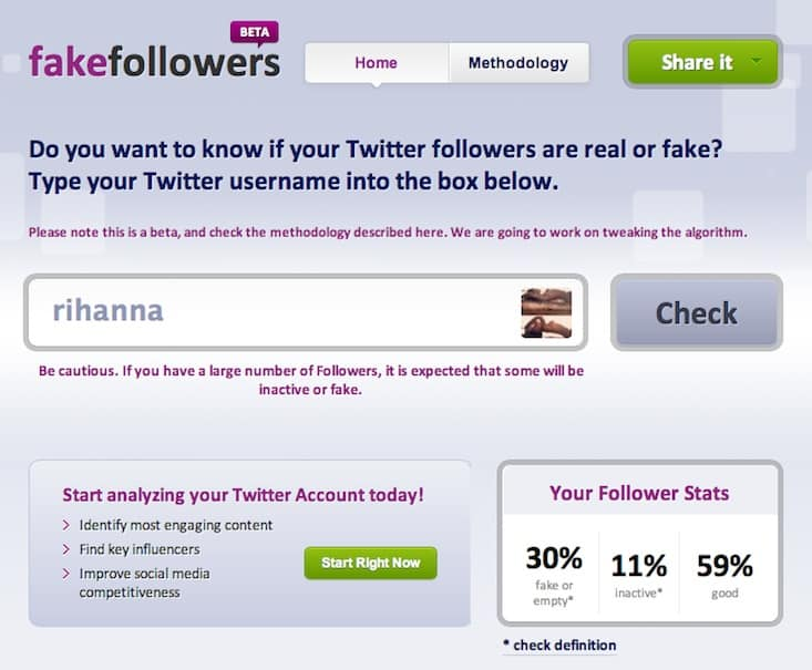 Find Using fakefollowers tool