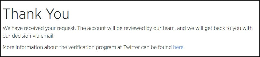 Final Confirmation from Twitter to Verify Account