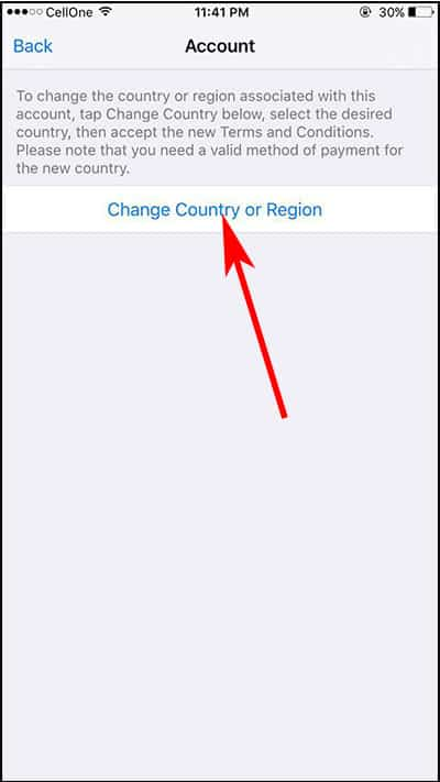 Tap on Change Country or Region