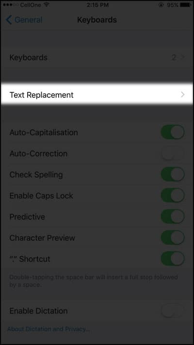 Tap on Text Replacement