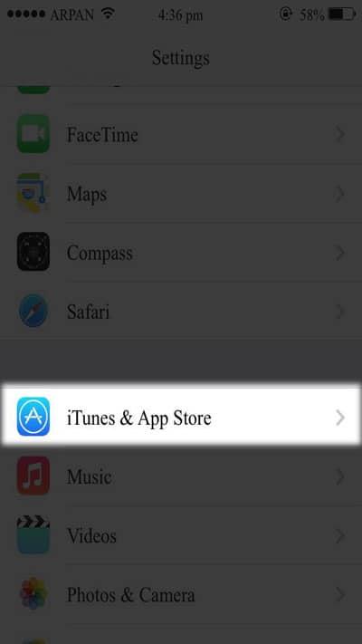Tap on iTunes & App Store.