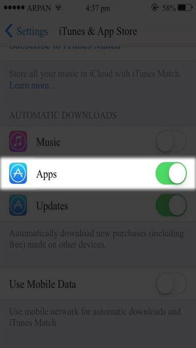 Toggle Updates OFF to disable auto-update on all apps.