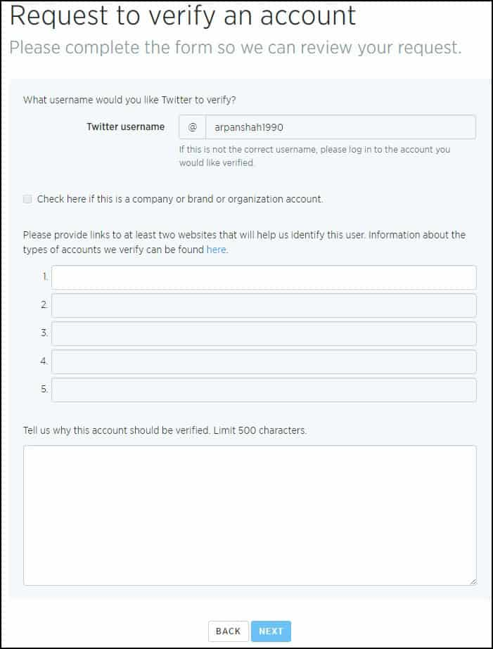 Twitter Account Verification Account Form