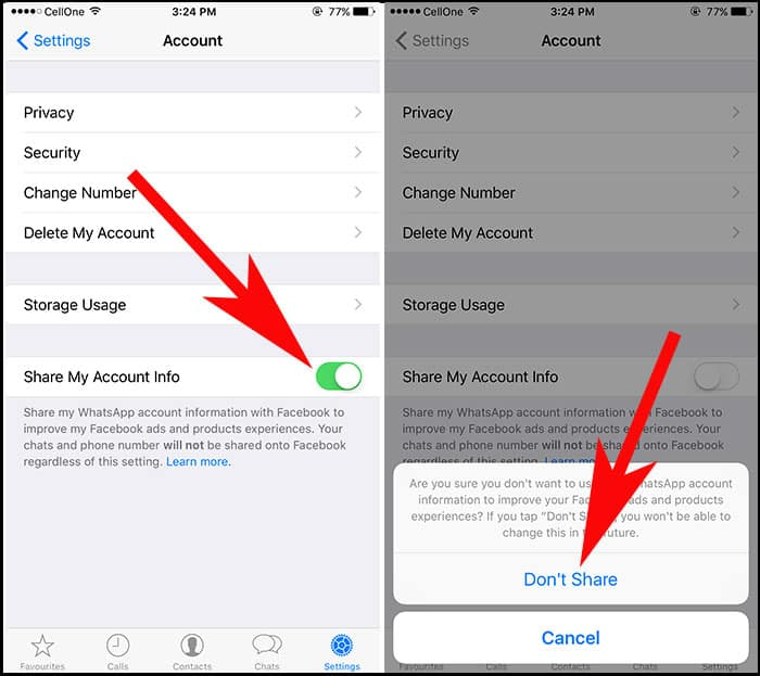 Toggle Off Share my account info Button