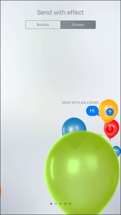 Balloons Effects in iMessage