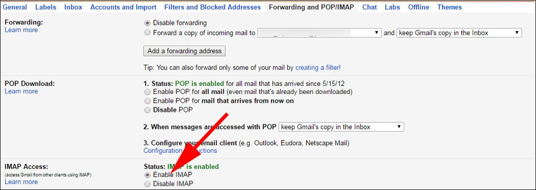 Login to Gmail and unable Imap