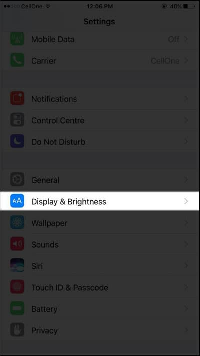 Tap on Display & Brightness