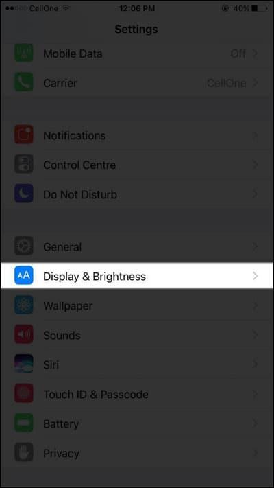 Tap on Display & Brightness
