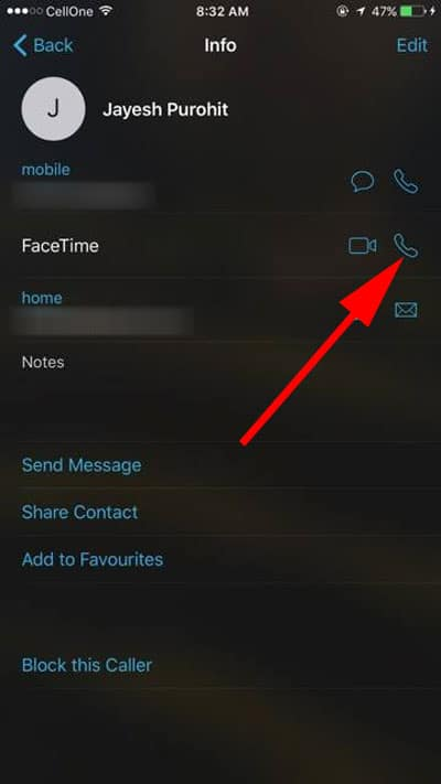 Tap on Receiver icon to make Facetime Audio Call
