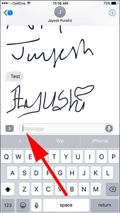 Tap on iMessage text field