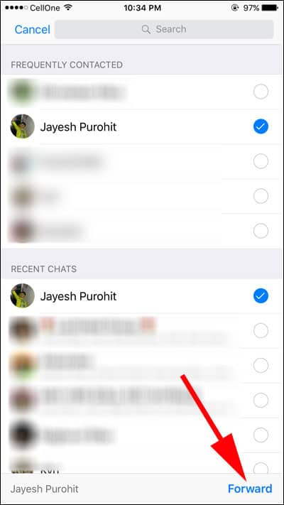 Tap on the Forward button and your message will be forwarded to the selected groups and contacts