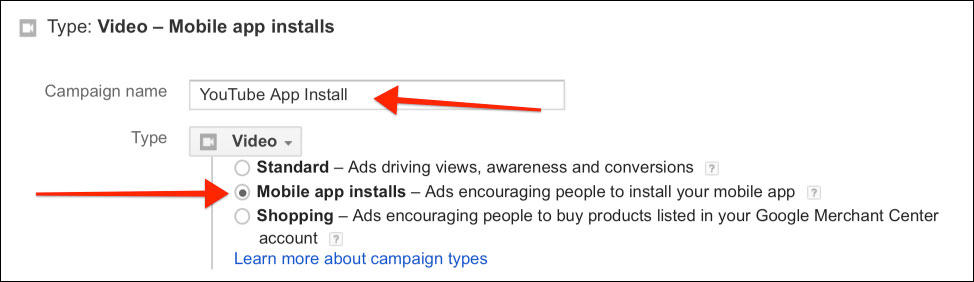 Add a name of your campaign and select Mobile app installs