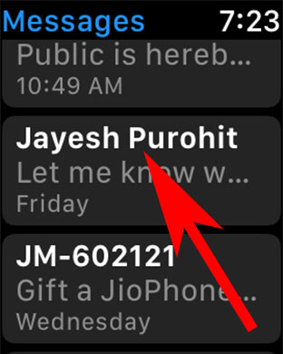 Choose Conversation in Message App on Apple Watch