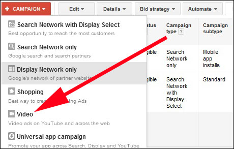 Click on Campaign and Select Video Option