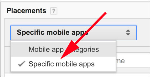 Click on Specific Mobile Apps