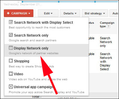 Click on display add network only