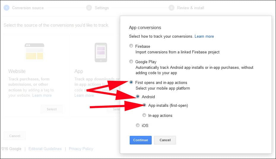 Click on first Open and in app action
